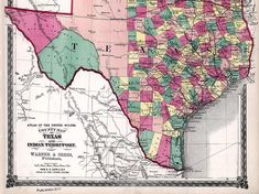Highly detailed digital print of vintage map. Country map of Texas and Indian Territory (Oklahoma), 1874. Printable wall art for home decor.  Your will receive high res JPG image file 11 x 14 inches (300dpi). Other map sizes are also available, just write me.  Please contact me if You