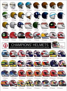 A nice illustration depicting Formula 1 World Drivers champions helmet designs from 1950 - This picture was found by Racing Helmets, F1 Racing, Motorcycle Helmets, Motorcycle Shoes, Women Motorcycle, F1 Wallpaper Hd, Aryton Senna, Gp F1, Mick Schumacher