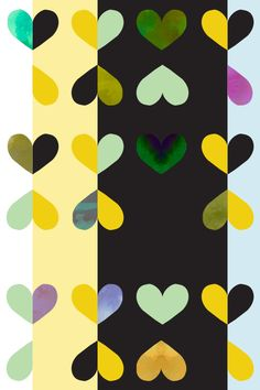 Hearts Apart. Color: Black Mint. Removable wallpaper.