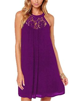 BeingStyle | DREAGAL Women's Halter Neck Loose Fit Floral Lace Mini Dress | #whatwomenwear #dresses