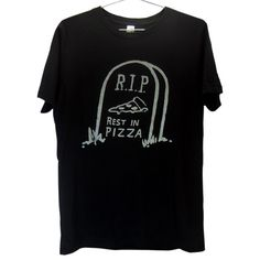 Killer Condo Apparel | Big Cartel | Rest in Pizza T-shirt | Silver on Black