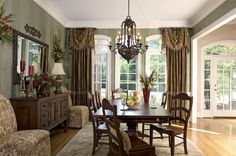 Adorable Dining Room Window Treatment Ideas and Dining Room Drapery Ideas: Fascinating Dining Room Window Treatment Ideas With Green Curtain Brown Pole Werdana Bangs For Formal Dining Room Window Treatment Ideas And Bedroom Window Treatment Ideas ~ podchulo.com Decorating Inspiration