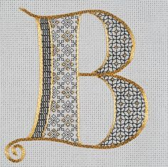 "One of the great things about monograms is their adaptability to multiple styles of embroidery. This is ""Tudor Monogram"" - a piece designed by Lizzy Pye. Lizzy just taught this piece at Hampton Court Palace for the Royal School of Needlework You can read Motifs Blackwork, Blackwork Embroidery, Embroidery Alphabet, Embroidery Monogram, Cross Stitch Alphabet, Ribbon Embroidery, Cross Stitch Embroidery, Cross Stitch Patterns, Embroidery Designs"