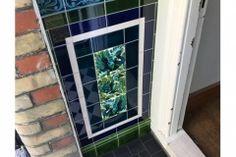 Porch tiles with William De Morgan fantastic animals panel Porch Tile, Fireplace Tiles, Victorian Tiles, Feature Tiles, Front Entrances, Windows, Ceramics, Gallery, Projects