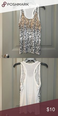 Cheetah sequin razorback tank top In great condition. Worn once Charlotte Russe Tops Tank Tops