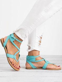 2018 Summer Bandage Beach Flat Sandals For Women - 42 Green