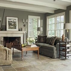 Living Room Flooring Ideas Rough Cut Slate Tile And Love The Wall Colour  With The White Trim Part 56