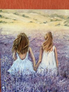Lavender Field, Original Oil Painting on Canvas , Oil Painting On Canvas, Canvas Art, Bff Drawings, Anime Art Girl, Watercolor Illustration, Painting Inspiration, Pop Art, Chicken Painting, Artwork