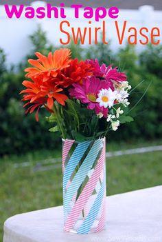 Easy dollar store swirl vase - Washi Tape Crafts