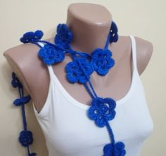 Lariat Hand made scarf with flowers Spring new by BloomedFlower, $21.00
