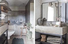 Enkelt och elegant med kalksten och rå betong i badrummet