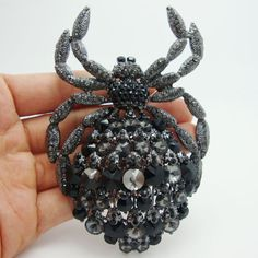 Vintage Fashion Jewelry Black Rhinestone Crystal Classic Spider Animal Large Brooch Pin Pendant Free Shipping