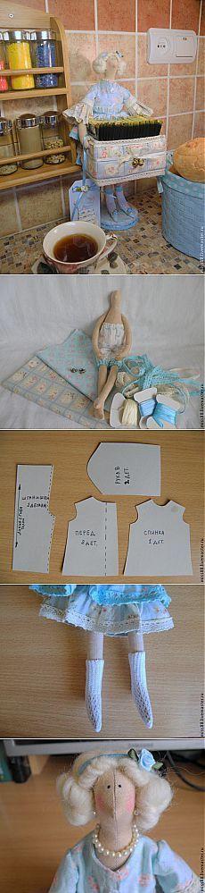 Muñeca tilde - guardián de las bolsitas de té.