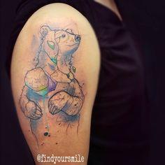 """russellvanschaick: """" Space bear. #watercolor #watercolortattoo #watercolour #watercolourtattoo #watercolortattoos…"""