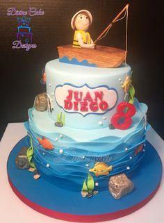 Fishing cake Boys 1st Birthday Party Ideas, Baby Boy Birthday, 6th Birthday Parties, Fish Cake Birthday, First Birthday Cakes, Gone Fishing Cake, Fishing Cakes, Fisherman Cake, Boat Cake