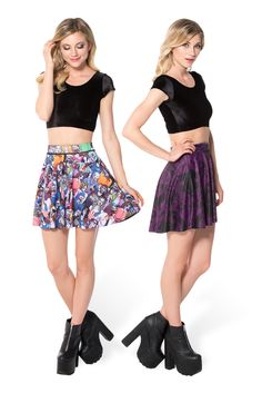 Plum Bath 2.0 Vs Zombie Nation Inside Out Skater Skirt - LIMITED (WW ONLY $90AUD) by Black Milk Clothing