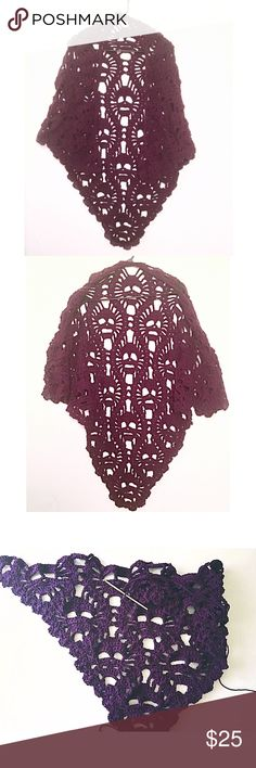 Lost Souls Crocheted Shawl Lost souls shawl crocheted with love by me! Yarn used was Caron One Pound in Purple. 100% acrylic. Spot clean preferred. Wash on gentle, dry on delicate and reshape. Do NOT hang dry. Kitten's Crochet Korner Accessories Scarves & Wraps