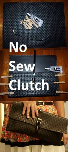 When fashion and crafting collide... THE NO SEW CLUTCH IS BORN!! There are lots of tutorials on pinterest for DIY clutches, but most requi...