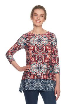 This fun folk pattern top with an embellished scoop neck is perfect for pairing. Latest Fashion For Women, Womens Fashion, Top Pattern, Folk, Scoop Neck, Shopping, Style, Blouses, Swag
