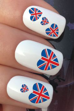 nail decals British flag union jack hearts water transfers stickers manicure art set by Nailiciousuk on Etsy Union Jack, Water Nails, Nail Decals, National Flag, Nail Art Designs, Nailart, Manicure, Stickers, Unique Jewelry