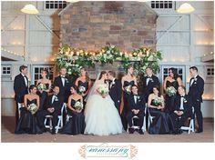 navy and black wedding theme, large bridal party photo