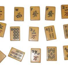 group of bakelite mah jongg enrobed two tone tiles - Enrob Color