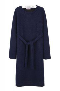 High Low Hem Knit Round Neck Long Sleeve Dress