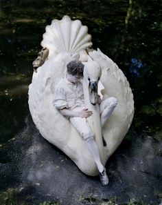 Photo: Tim Walker Model: David White & his swan boat NORTHAMPTONSHIRE, UK, 2010 CASA VOGUE
