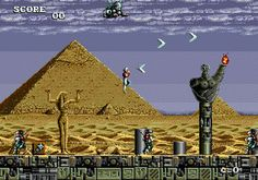The player controls Chelnov's movements with the 8-way joystick, and the 3 buttons to attack, jump, or turn around. Six types of weapons can be obtained during the game, and collecting power-ups can improve Chelnov's attack power, rapid-firing capability, attack range, or jumping height.