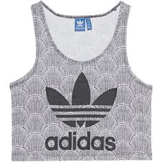 ADIDAS ORIGINALS Shell Croptank Black & White // Crop top with print ($33) ❤ liked on Polyvore featuring tops, white and black crop top, black and white print top, print crop top, crop top and shell tops