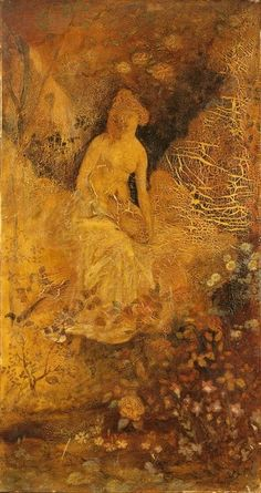 Albert Pinkham Ryder, Panel for a Screen: Woman with a Deer c.1876