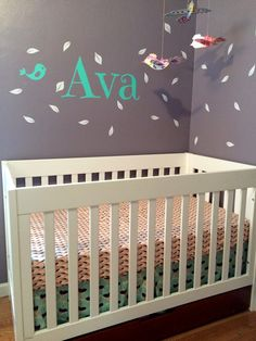 Ava's nursery featuring bedding in Winged fabrics by Miss Polly's Piece Goods.
