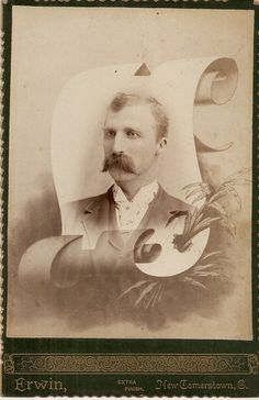 Memorial Photo of Man w Thick Mustache New Comerstown Ohio | eBay