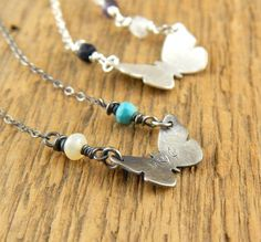 3/4-inch silver butterfly necklace OXIDIZED choose by erinbowe