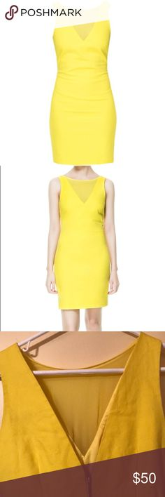 Zara Tube Dress with Mesh Front Zara bodycon tube yellow dress with slip. See through mesh v-neck. Back has a Open v-back and zipper closure.Fits the body amazing! Great for work or a night out. Excellent condition Zara Dresses Midi