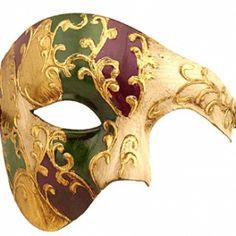 Luxury Mask Men's Phantom Of The Opera Half Face Masquerade Mask Vintage Design, Purple/Green/Gold/Mardi Gras, One Size Mens Masquerade Mask, Masquerade Ball, Masquerade Costumes, Feather Mask, Half Face Mask, Face Masks, Masked Man, Carnival Masks, Making Faces