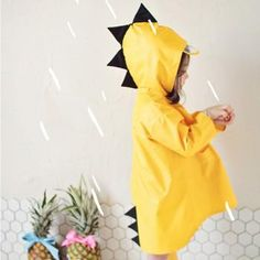 Cute Dino Hooded Water-proof Rain Coat for Babies and Toddlers
