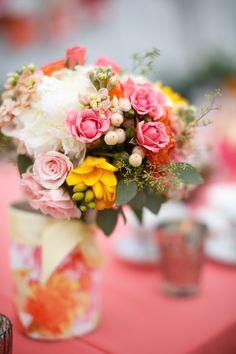 Coral Color Palette | See the wedding on SMP: http://www.StyleMePretty.com/pennsylvania-weddings/philadelphia/2013/12/02/philadelphia-wedding-from-la-petite-fleur-weddings-and-events/ Gene Smirnov Photography