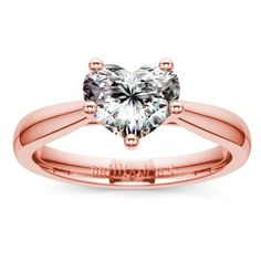 Taper Solitaire Engagement Ring in Rose Gold | Heart