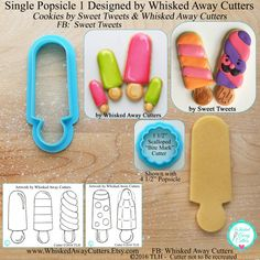 Single Popsicle 1 Stick Area Included Cookie by WhiskedAwayCutters