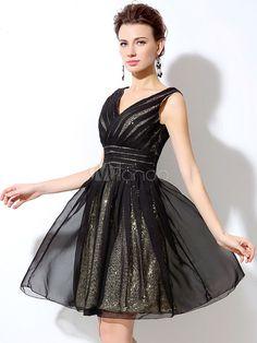 71307988e Sequin Cocktail Dress Black Short Prom Dress Chiffon V Neck Backless A Line  Mini Graduation Dress