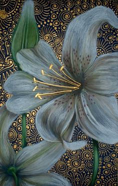 White Tiger Lilies, by Cherie Roe Dirksen, chalk pastel and acrylic Lily Painting, Acrylic Flowers, White Lilies, Metal Wall Art, Painting Inspiration, Flower Art, Art Drawings, Canvas Art, Tiger Lilies