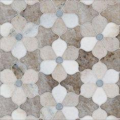 Mosaics & Waterjets - Facings of America - Ms Talya Multi Finish Theodora Pa Sky Al Marble Waterjet Mosaics