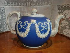 Extremely Rare Antique Dipped Jasperware Teapot