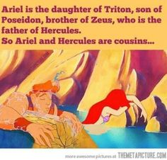 Ariel is the daughter of Triton, son of Poseidon, brother of Zeus, who is the father of Hercules. So Ariel and Hercules are cousins…...#Disney #Hercules #Ariel #GreekMythology #Cousins