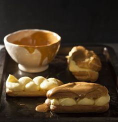 Eclairs with lemon custard and caramelised white chocolate, by Abigail Donnelly Easy Baking Recipes, Pastry Recipes, Party Desserts, Dessert Recipes, Vegan Desserts, Caramelized White Chocolate, Easy Vegetable Side Dishes, Chocolate Topping, Chocolate Custard