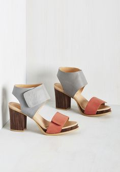 Collage Educated Heel - Grey, Coral, Solid, Work, Casual, Daytime Party, Beach/Resort, Colorblocking, Minimal, Better, Chunky heel, Colorsplash