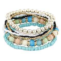 Nurbo 1 Set 7PCS Boho Wholesale Multilayer Acrylic Beads Beach Bracelet