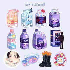 Cute Food Drawings, Cute Kawaii Drawings, Cute Doodle Art, Cute Art, Kawaii Stickers, Cute Stickers, Anime Kawaii, Anime Chibi, Kawaii Background