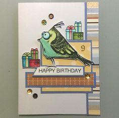 9yr boy Birthday card. Tim Holtz Bird Crazy. SU dsp. MFT Beary Special birthday presents stamp. Altenew markers. LI 6/17